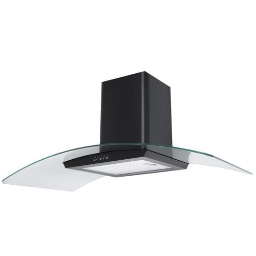 SIA 100cm Curved Glass Black Cooker Hood Extractor Fan + Recirculation Filters