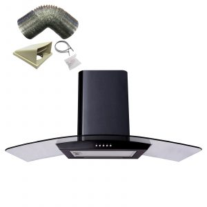 SIA CP101BL 100cm Black Curved Glass Cooker Hood Extractor Fan And 3m Ducting