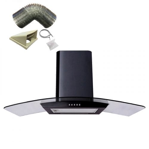 SIA CP101BL 100cm Curved Glass Black Cooker Hood Extractor Fan + 3m Ducting
