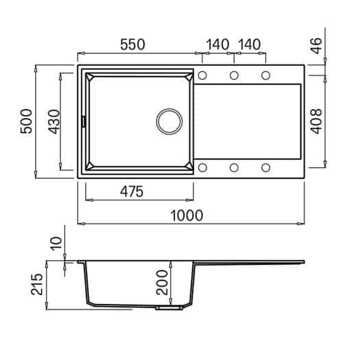 Reginox Easy 480 White Granite Composite Inset 1.0 Bowl Reversible Kitchen Sink