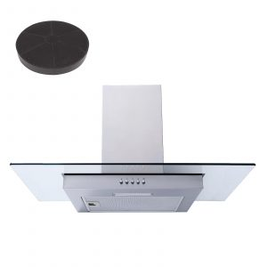 SIA FL71SS 70cm Stainless Steel Flat Glass Chimney Cooker Hood And Carbon Filter