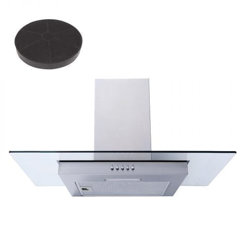 SIA FL71SS Steel 70cm Flat Glass Chimney Cooker Hood Extractor & Carbon Filter