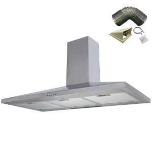 SIA CH101SS 100cm Stainless Steel Chimney Cooker Hood Extractor & 1m Ducting Kit