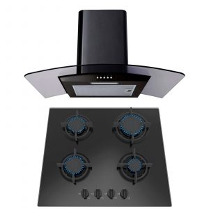 SIA 60cm Black Gas on Glass Hob & 60cm Curved Glass Black Cooker Hood Extractor