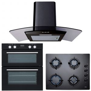 SIA Built In Electric Double Oven, 60cm Black Gas Hob & 60cm Black Cooker Hood