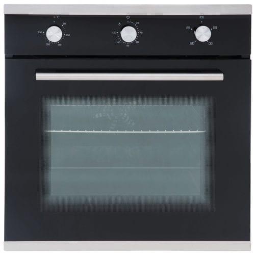 SIA 60CM Single Electric Oven, 70cm Black Gas Hob & Angled Glass Cooker Hood
