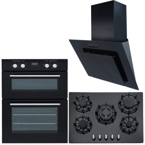SIA Double 60CM Electric Oven, Black 70cm Gas Hob & Angled Glass Cooker Hood