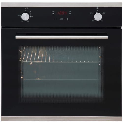 SIA 60CM Single Electric Oven, Black 70cm Gas Hob & Angled Glass Cooker Hood