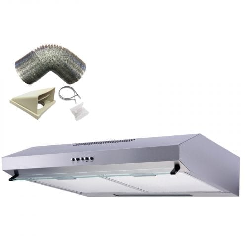 SIA STV60SS 60cm Stainless Steel Visor Cooker Hood Extractor Fan And 1m Ducting