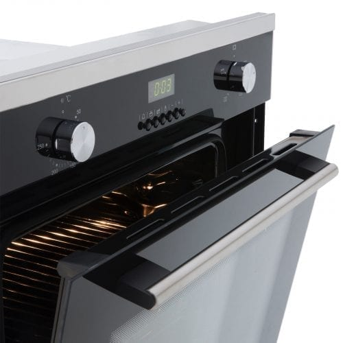 SIA 60CM Single Electric Oven, Black Gas 70cm Hob & Angled Glass Cooker Hood