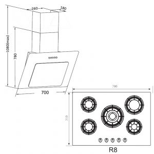 SIA 60CM Single Electric Oven, Black Gas 70cm Hob & Angled Glass Cooker Hood