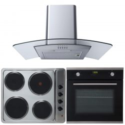 SIA 60cm Single Electric Oven, 4 Ring Electric Hob & Curved Glass Cooker Hood