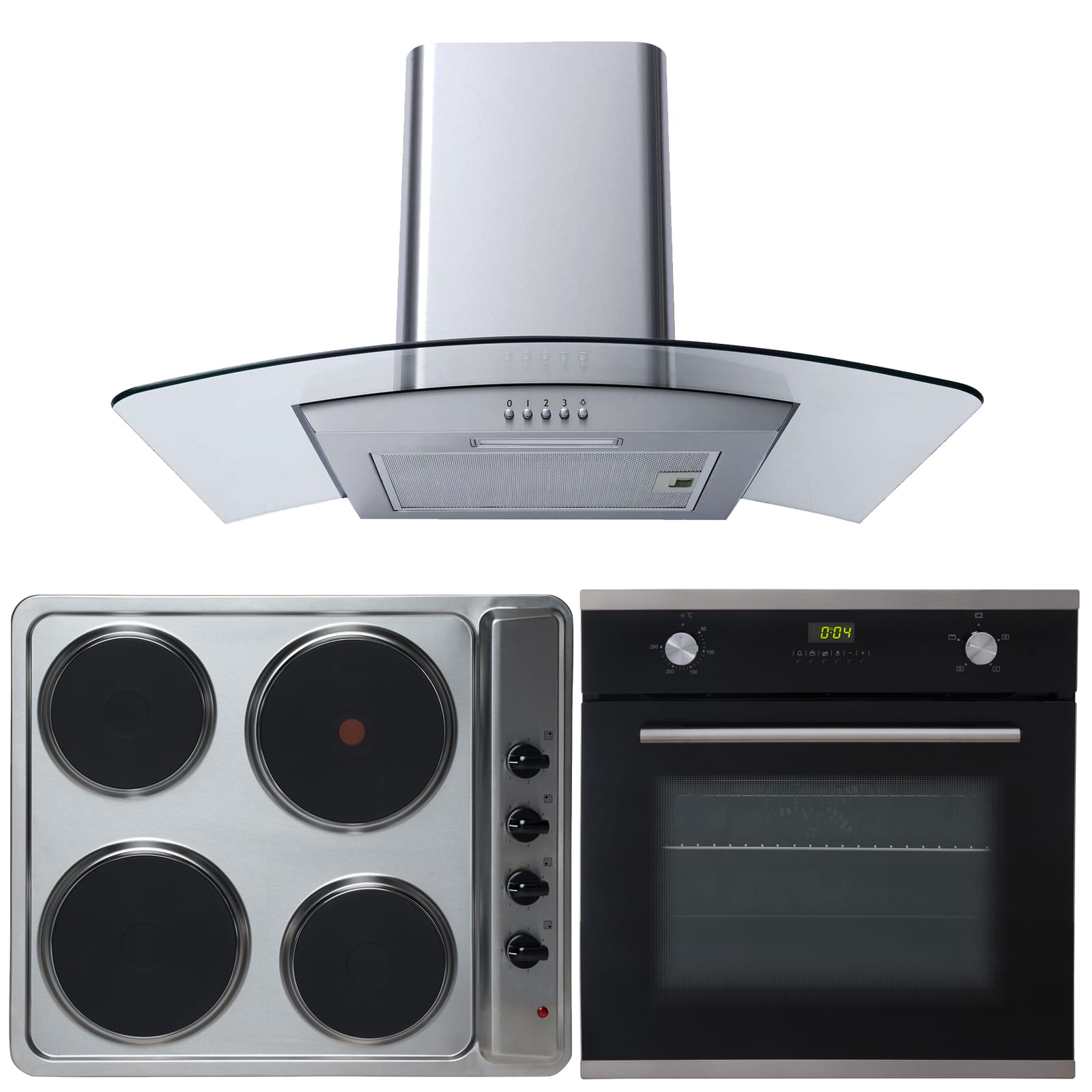 SIA 60cm Single Electric Oven, 4 Ring Electric Hob & Curved Glass Cooker Hood at Ship It Appliances