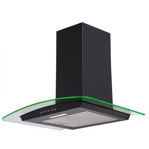 SIA 60cm 3 Colour LED Edge Lit Curved Glass Black Cooker Hood + Charcoal Filters