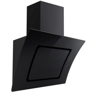 SIA 70cm Black Touch Control Angled Curved Glass Cooker Hood Kitchen Extractor
