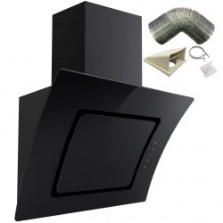 SIA 90cm Black Touch Control Angled Curved Glass Cooker Hood And 1m Ducting Kit