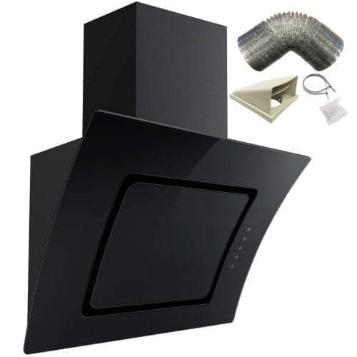 SIA AT91BL 90cm Touch Control Black Curved Glass Cooker Hood + 1m Ducting Kit