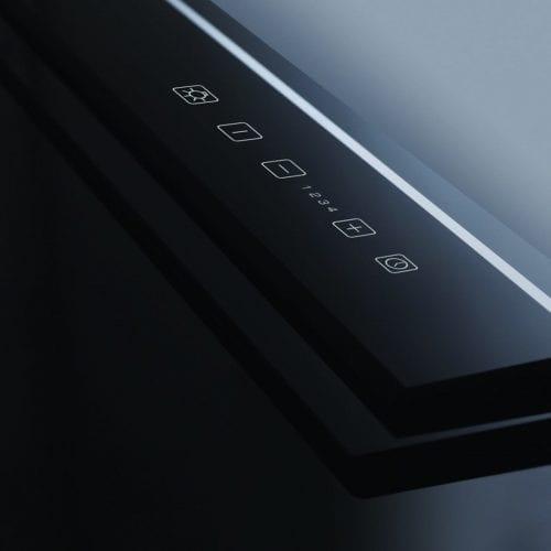 CDA 3D9BL 90cm Touch Control Black Downdraft Kitchen Extractor Fan - Glass Panel