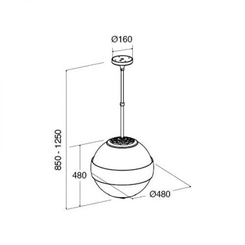 CDA 3S10WH 50cm Spherical Island White Designer Cooker Hood Extractor