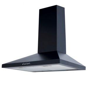 SIA 60cm Black Chimney Cooker Hood & 60cm x 75cm Toughened Glass Splashback
