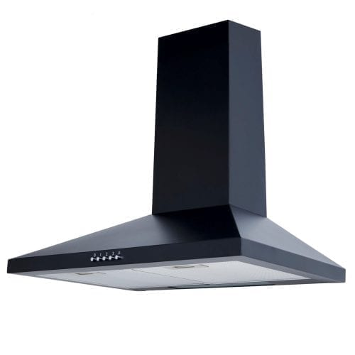 SIA 60cm Black Chimney Cooker Hood + 60cm Toughened Black Glass Splashback