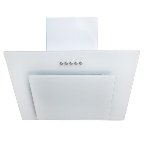 SIA AGL61WH 60cm White Angled Glass Cooker Hood Extractor + 3m Ducting