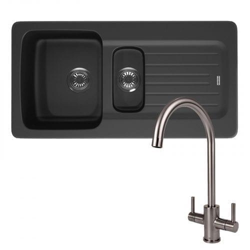 Franke Aveta 1.5 Bowl Black Kitchen Sink & Reginox Genesis Swan Neck Steel Tap