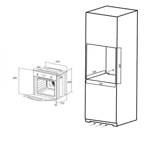 SIA SO112SS 60cm Built-in Digital Single Electric Fan Oven In Stainless Steel