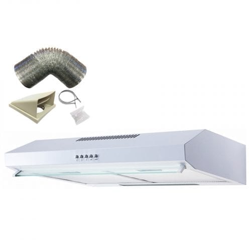 SIA STV60WH 60cm White Visor Cooker Hood Kitchen Extractor Fan & 1m Ducting Kit