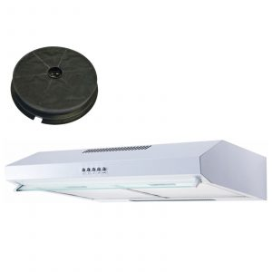 SIA STV60WH 60cm White Visor Cooker Hood Kitchen Extractor Fan And Carbon Filter