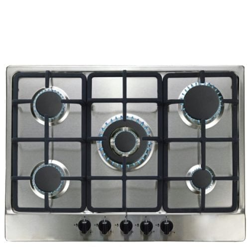 SIA Built In Double Electric Fan Oven & Stainless Steel 70cm 5 Burner Gas Hob