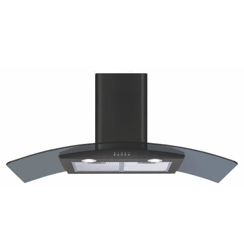 CDA ECP112BL 110cm Curved Glass Cooker Hood Extractor Fan In Black