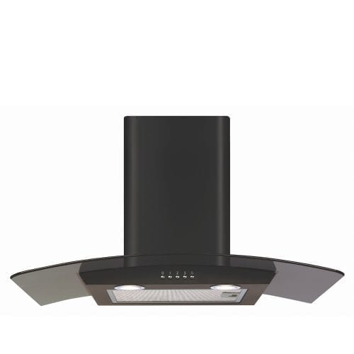 CDA ECP72BL 70cm Black Curved Glass Chimney Cooker Hood Extractor Fan