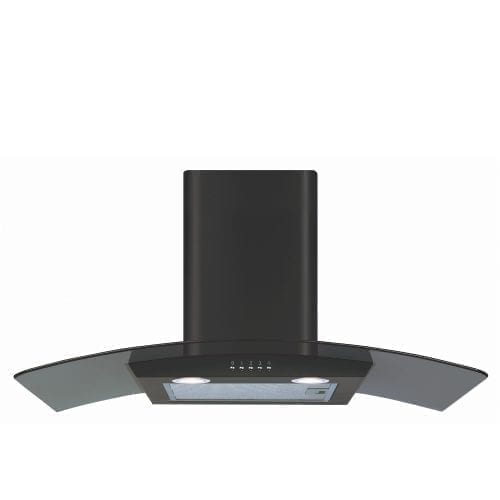 CDA ECP82BL 80cm Curved Glass Cooker Hood Extractor Fan In Black