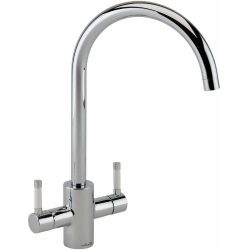 Reginox Genesis Chrome Swan Neck Dual Lever Kitchen Mixer Tap With White Handles