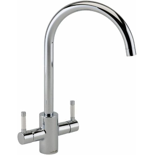 Reginox Genesis Swan Neck Chrome Lever Kitchen Monobloc Tap With White Handles