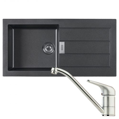 Franke Sirius 1.0 Bowl Black Kitchen Sink & Clearwater Creta Chrome Swivel Tap