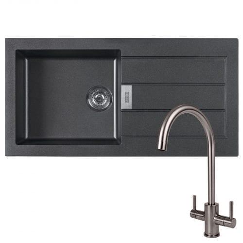 Franke Sirius 1.0 Bowl Black Kitchen Sink & Reginox Genesis Swan Neck Steel Tap