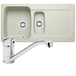 Franke Aveta 1.5 Bowl Cream Reversible Tectonite Kitchen Sink & Chrome Mixer Tap