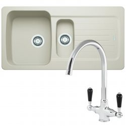 Franke Aveta 1.5 Bowl Cream Tectonite Kitchen Sink & Reginox Brooklyn Mixer Tap
