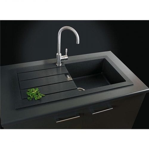 Franke Sirius SID611BL 1.0 Bowl Black Tectonite Reversible Kitchen Sink & Waste