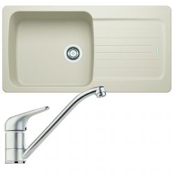Franke Aveta 1.0 Bowl Cream Tectonite Kitchen Sink & Clearwater Creta Lever Tap