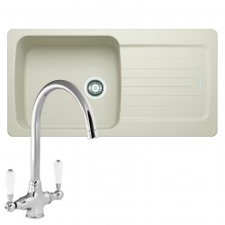 Franke Aveta 1.0 Bowl Cream Tectonite Kitchen Sink And Reginox Elbe Chrome Tap
