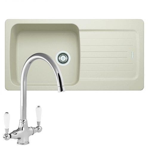 Franke Aveta 1.0 Bowl Cream Tectonite Kitchen Sink & Reginox Elbe Chrome Tap