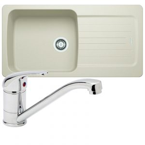 Franke Aveta 1.0 Bowl Cream Tectonite Kitchen Sink & Astracast TP0800 Tap