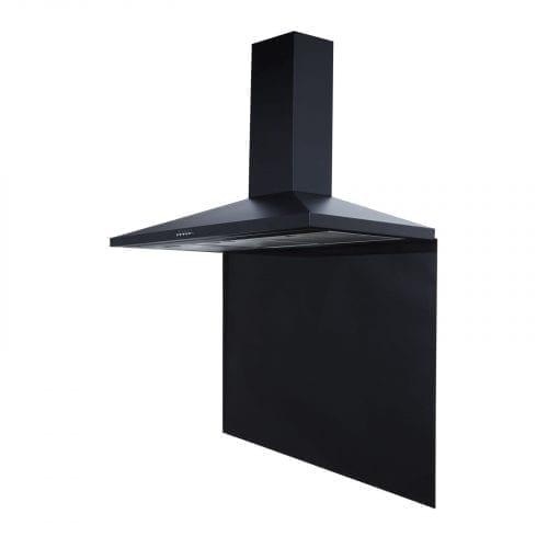 SIA CH101BL 100cm Black Cooker Hood Extractor Fan & 100cm Black Glass Splashback