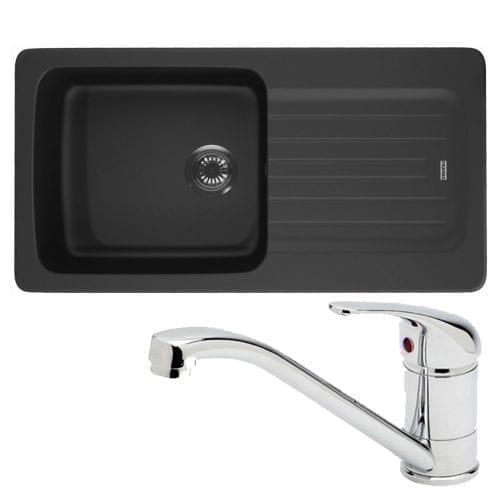 Franke Aveta 1.0 Bowl Black Tectonite Kitchen Sink & Astracast Single Mixer Tap