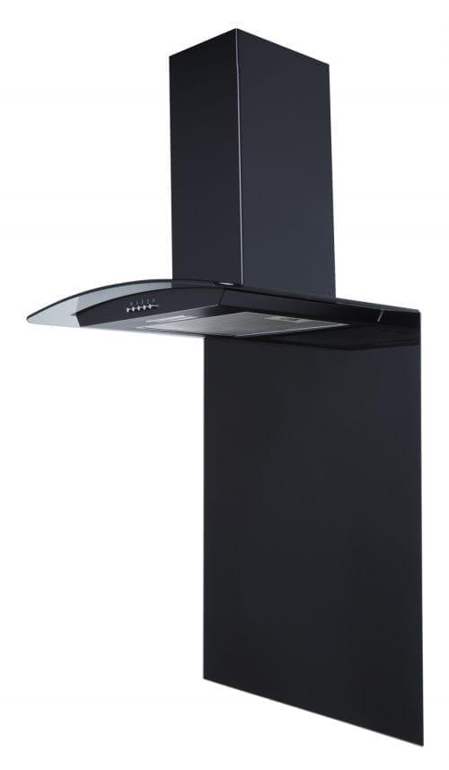 SIA CPL61BL 60cm Curved Glass Black Chimney Cooker Hood + 60cm Glass Splashback