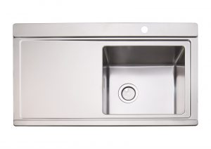 Clearwater Glacier 1.0 Bowl Stainless Steel Sink & Silver Glass Chopping Boards