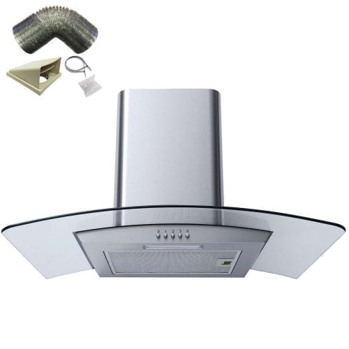 SIA CG71SS 70cm Curved Glass Stainless Steel LED Cooker Hood + 1m Ducting Kit